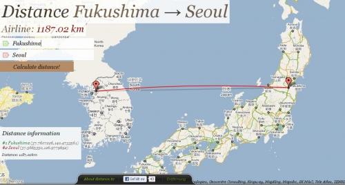 Distance-Fukushima-Seoul